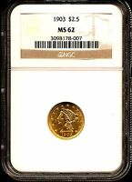 1903 G$2.5 LIBERTY HEAD GOLD QUARTER EAGLE MS62 NGC 3098178 007