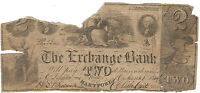 1849 EXCHANGE BANK HARTFORD CT TORN 2 TWO DOLLAR OBSOLETE  NOT IN HAXBY