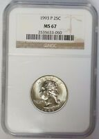 1993 P 25C WASHINGTON QUARTER NGC MS67