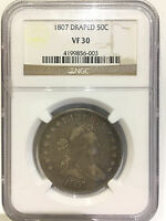 1807 DRAPED BUST HALF DOLLAR 50C NGC VF30