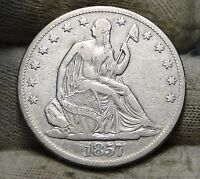 1857 O SEATED LIBERTY HALF DOLLAR 50 CENTS. KEY DATE 818,000 MINTED 5768