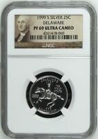 1999 S DELAWARE SILVER PROOF QUARTER 25C NGC PF69 ULTRA CAMEO PORTRAIT LABEL