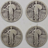 1927 STANDING LIBERTY QUARTER, LOT OF 4, PLEASING CIRCULATED EXAMPLE