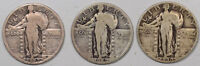 1927, 1929-D, 1930-S STANDING LIBERTY QUARTER-LOT/3-PLEASING CIRCULATED EXAMPLE