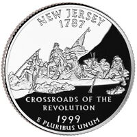 1999 S SILVER GEM PROOF NEW JERSEY STATE QUARTER 90 SILVER