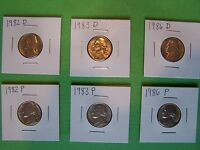 1982 P&D 1983 P&D 1986 P&D JEFFERSON NICKEL KEY YEAR SET IN 2X2 HOLDERS
