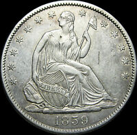 1859 O SEATED LIBERTY HALF DOLLAR      STUNNING TYPE COIN      D338