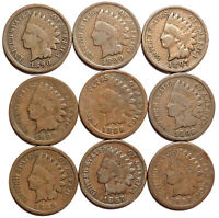 INDIAN HEAD CENTS. 9 FULL DATES. 1890,1899,1889,1886,1888,1887 PENNIES 1C 144