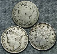 1883 WITH CENTS 1903 1911 LIBERTY V NICKEL LOT              D149