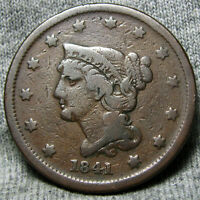 1841 BRAIDED HAIR CENT US PENNY      TYPE COIN      O505