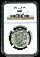 1936 50C ELGIN COMMEMORATIVE HALF DOLLAR MINT STATE 65 NGC