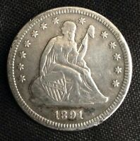 1891 S SEATED LIBERTY QUARTER