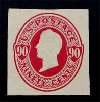 NYSTAMPS US CUT SQUARE STAMP  U107 MINT $190