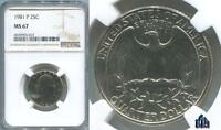 MS 67 NGC 1981 P WASHINGTON QUARTER RARITY PRICE GUIDE $500.00  ONLY 1 FINER