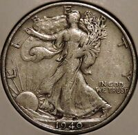 WALKING LIBERTY HALF   1940 S   BEAUTIFUL SILVER   $1 UNLIMITED SHIPPING
