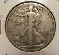 1938 D WALKING LIBERTY HALF DOLLAR VF DETAILS