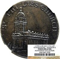 NGC MS62 1790'S ST PHILIPS CHURCH BRITISH HALFPENNY CONDER NGC POP 1 SKU 2028