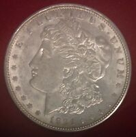 1921 D $1 MORGAN SILVER DOLLAR UNC