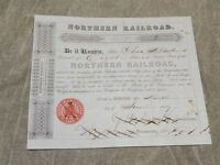 ORIGINAL 1849 NORTHERN RAILROAD STOCK CERTIFICATE 8 SHARES EXCELLENT SHAPE