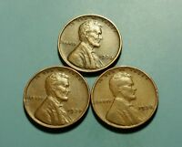 1936 P 1937 P 1938 P LINCOLN WHEAT PENNY 3 COIN SET W5427
