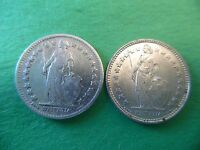 2 DIFFERENT SWITZERLAND 1/2 FRANC SILVER  COINS 1900B AND 1920B NICE K570