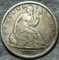 1864 S SEATED LIBERTY HALF DOLLAR     TYPE COIN STUNNING DETAILS     N443