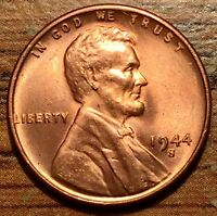 1944 S UNITED STATES LINCOLN WHEAT CENT COIN UNCIRCULATED RED