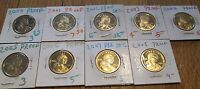 2000 2001 2002 2003 2004 2005 2006 2007 2008 9 PC LOT PROOF SACAGAWEA DOLLAR $