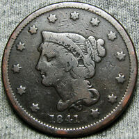 1841 BRAIDED HAIR LARGE CENT    TYPE COIN    O884