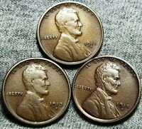 1911-D  1913-S  1915-D LINCOLN WHEAT CENTS ---  LOT --- N635