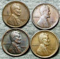 1913 1915 1917 1928 S LINCOLN WHEAT CENTS     NICE LOT     N819