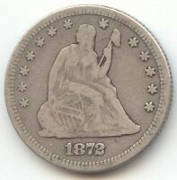 1872 SEATED LIBERTY QUARTER FINE DETAIL  DATE