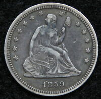 1859 SEATED LIBERTY QUARTER 25 CENTS   SEMI KEY DATE NICE COIN 5236