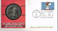 3507 PEANUTS SNOOPY FDC WITH $1.00 SNOOPY COIN - FLEETWOOD CACHET