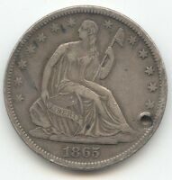 1865 S SEATED LIBERTY HALF DOLLAR SHARP XF DETAILS HOLE