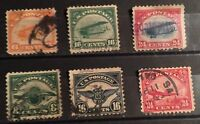 SCOTT C1-C6 US AIRMAIL STAMPS USED COMPLETE SET OF 6