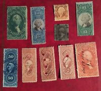 COLLECTION/LOT OF 10 MIXED VINTAGE US BOB REVENUE STAMPS BOB8