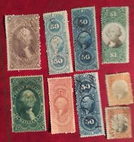 COLLECTION/LOT OF 9 MIXED VINTAGE US BOB REVENUE STAMPS BOB9
