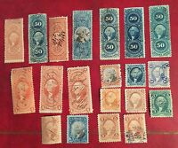 COLLECTION/LOT 20 MIXED VINTAGE US BOB REVENUE STAMPS BOB3