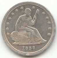 1838 SEATED LIBERTY QUARTER VF XF DETAILS FIRST YEAR OF ISSUE