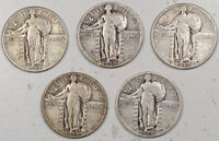 1928 1930 STANDING LIBERTY QUARTERS   LOT/5   HIGH GRADE CIRCULATED EXAMPLES