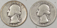 1932 WASHINGTON QUARTERS   LOT/2   PLEASING CIRCULATED EXAMPLES
