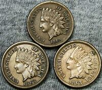 186018621863 INDIAN HEAD CENTS     STUNNING TYPE COINS LOT     N269