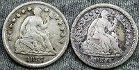 1856  1857 SEATED LIBERTY HALF DIMES     TYPE COINS LOT     N266