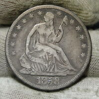 1858S SEATED LIBERTY HALF DOLLAR 50 CENTS   KEY DATE ONLY 476,000 MINTED 6003