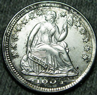 1854 SEATED LIBERTY HALF DIME BREEN 3069 V 1 NEIL 3   STUNNING DETAILS     N913