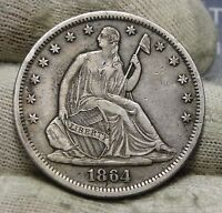 1864S SEATED LIBERTY HALF DOLLAR 50 CENTS. KEY DATE ONLY 658,000 MINTED 5762