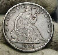 1871 SEATED LIBERTY HALF DOLLAR 50C   NICE COIN SEMI KEY DATE 1,203,600 5826