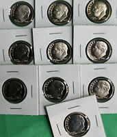 1980   1989 PROOF ROOSEVELT DIME COIN COLLECTION FROM US MINT PROOF SET 10 COINS