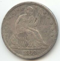 1844 SEATED LIBERTY HALF DOLLAR SHARP AND ORIGINAL AU RECUT 18 IN DATE